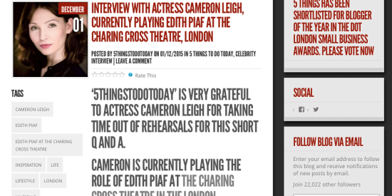 Interview with actress Cameron Leigh, currently playing Edith Piaf at the Charing Cross Theatre, London